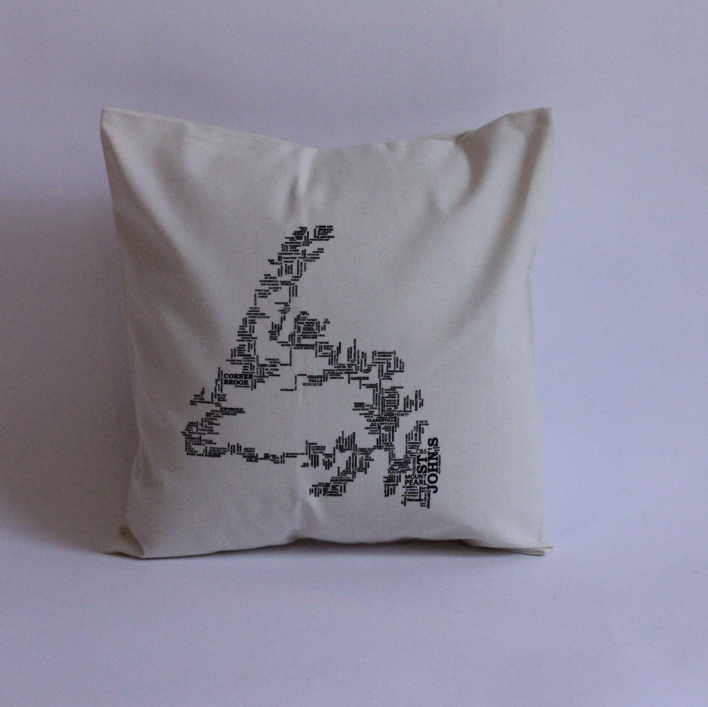 Place Names Map Pillow Cover