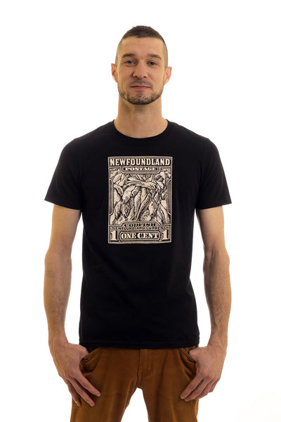 Men's Black T-Shirt Cod Stamp I Newfoundland | Johnny Ruth