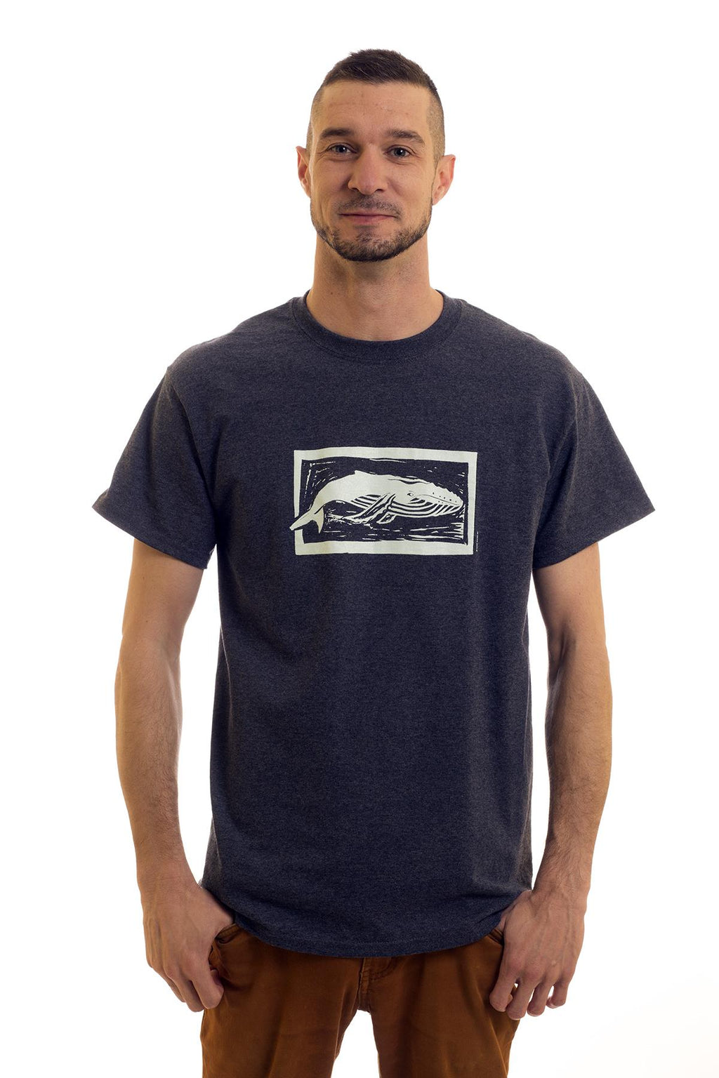 Men's Heather Navy T-Shirt Humpback| Newfoundland | Johnny Ruth