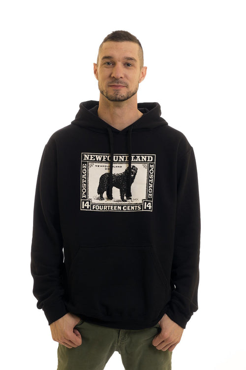 Men's Black Hoodie Dog Stamp| Newfoundland | Johnny Ruth