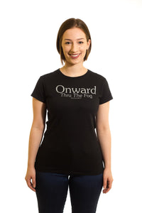 Women's Black T-Shirt Onward Thru The Fog| Newfoundland | Johnny Ruth