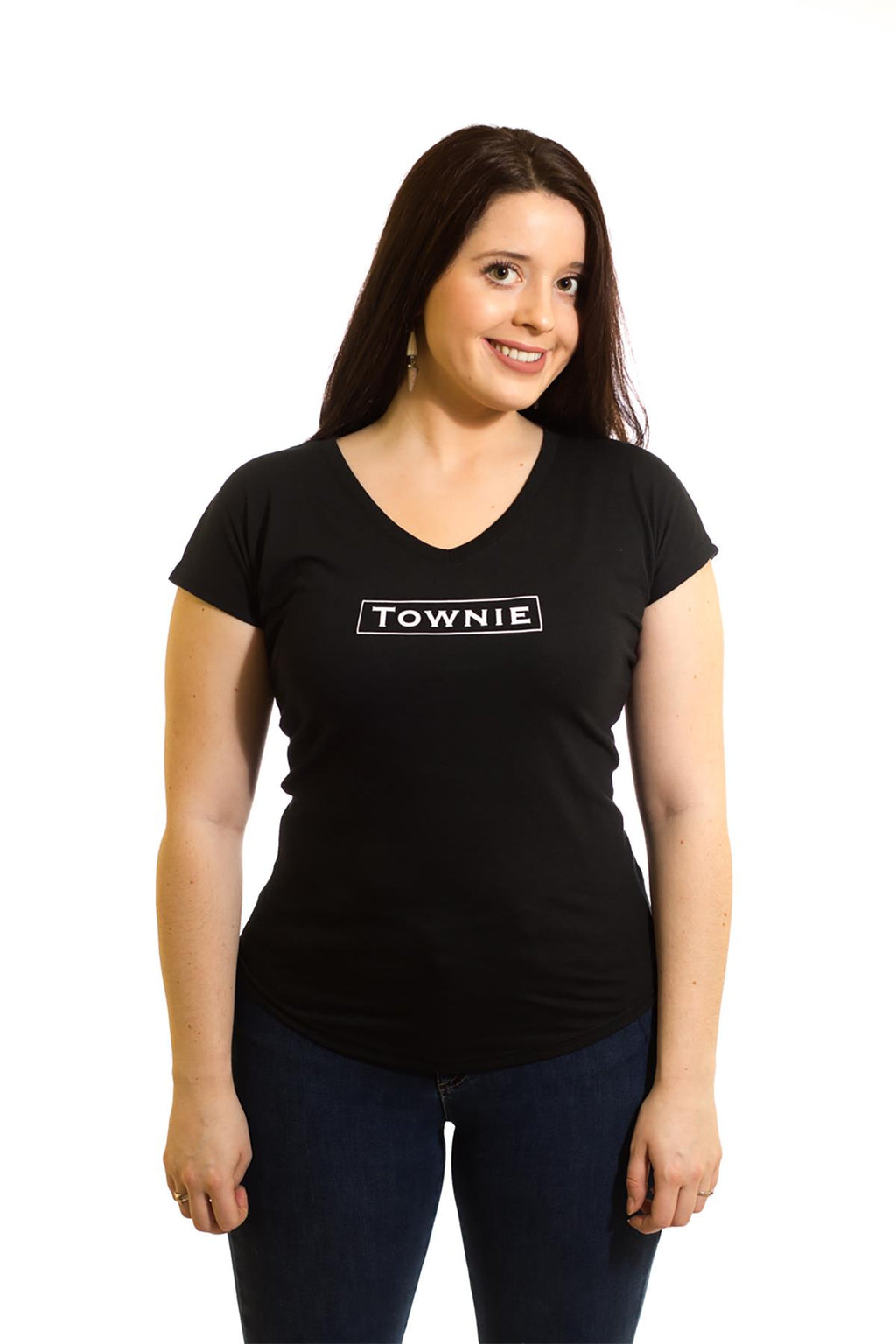 Women's Black T-Shirt Townie| Newfoundland | Johnny Ruth