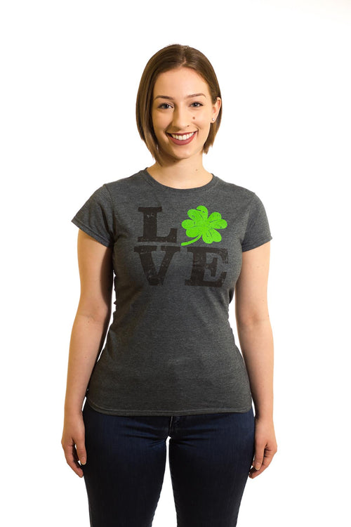Women's Grey T-Shirt Irish Love| Newfoundland | Johnny Ruth