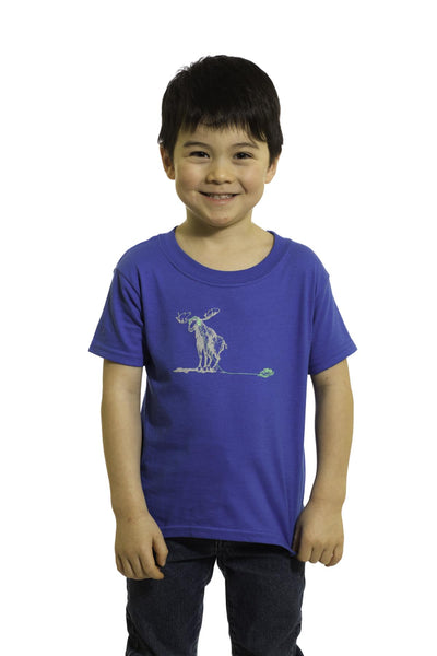 Kid's Blue Spinning Moose T-Shirt | Johnny Ruth | Newfoundland
