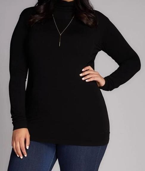 Bamboo Plus Sized Turtleneck Top