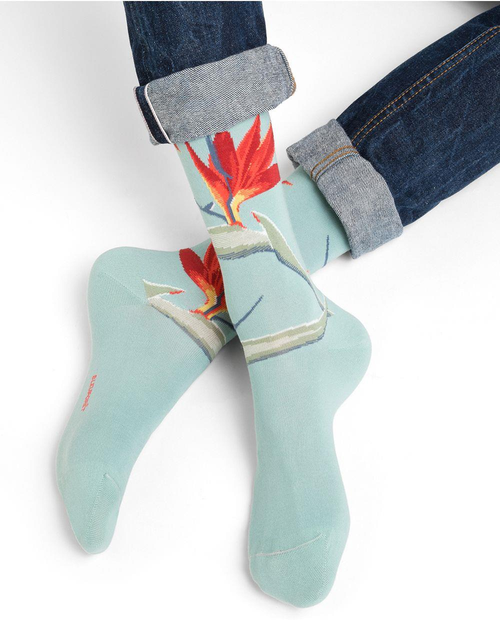 Cotton Socks With Tropical Flowers Motif