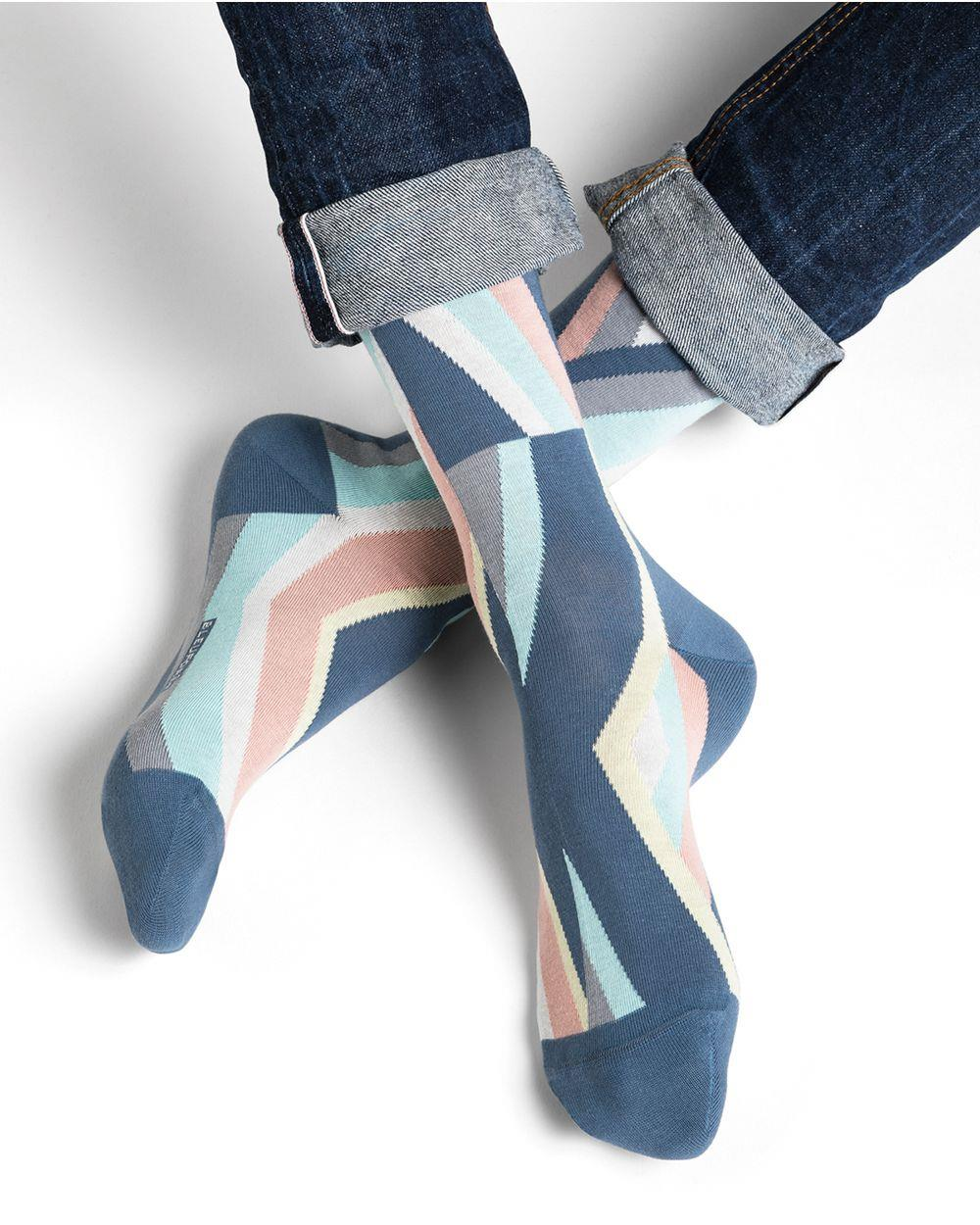 Multicoloured Diagonal Pattern Cotton Socks