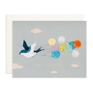 Swallow And Balloons Card