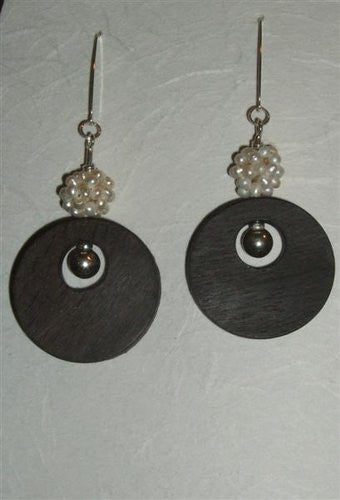 Medium Bog Oak Pearl Cluster Earrings