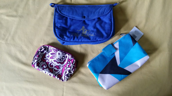 Lot of 3 Zippered Cosmetic Bags Pre-owned