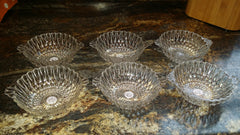 Set of 6 Vintage Glass Dessert Bowls Bubble Design