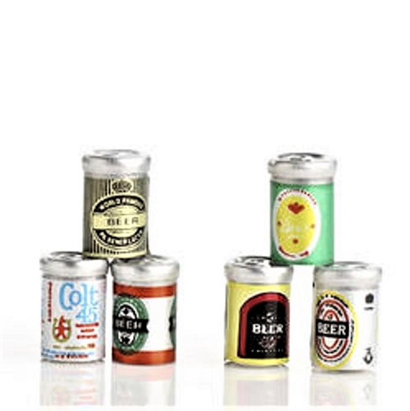 Dollhouse Miniature Assorted Beer Cans, Pkg of 6 Famous Name Brands #ITM514 - It's Totally Minis