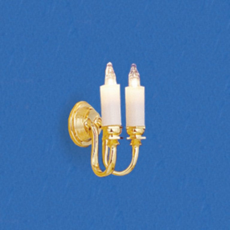 Dollhouse Miniature 12v Wall Sconce, Dual Candle #CK4011 - It's Totally Minis