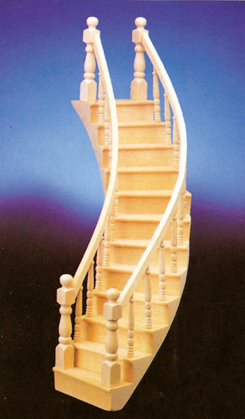 Dollhouse Miniature Assembled Stairs, Left Curve, 2-Rail #CLA70221 - It's Totally Minis