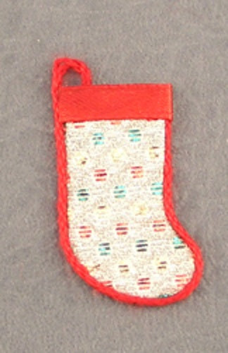 Dollhouse Miniature Christmas Stocking, Silver and Red #DHS4945