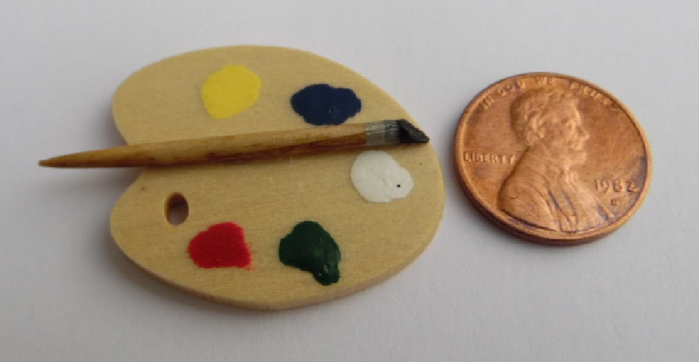 "Dollhouse Miniature Artist Palette, Wood with ""Brush"" #EEW78"