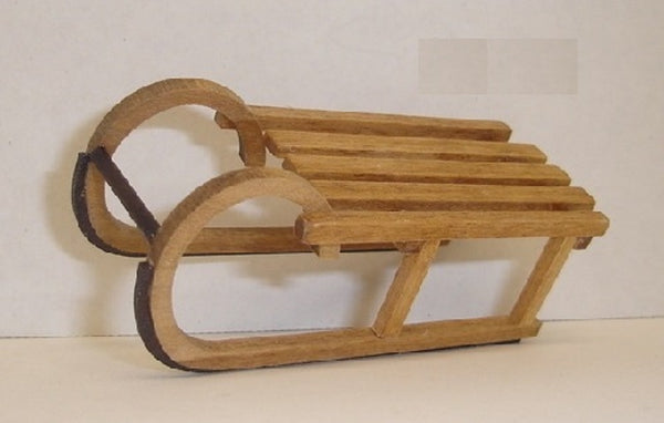 Dollhouse Miniature Elfinhorn Sled, All Wood #EEW87