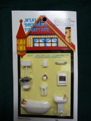 Dollhouse Miniature 1:48 Scale Bathroom Set, Plastic #G1454 - It's Totally Minis
