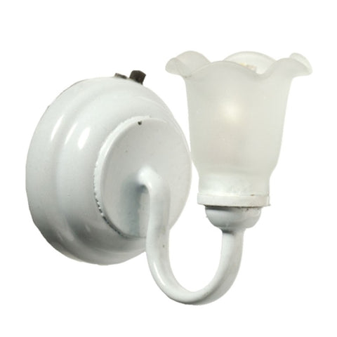 Dollhouse Miniature LED Sconce with Frosted Tulip, White #HW2364