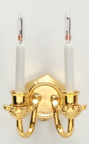 Dollhouse Miniature 12v Dual Candle Wall Sconce with Bi-pin Bulb #HW2526
