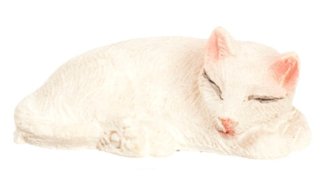 Dollhouse Miniature White Cat, Sleeping #IM65445