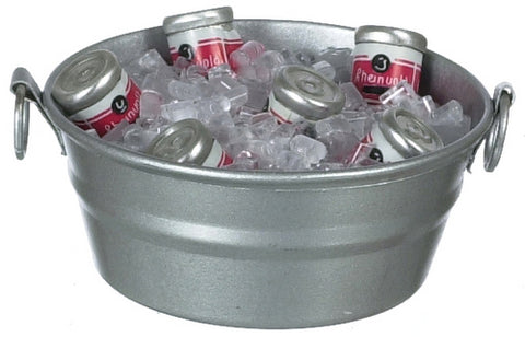 Dollhouse Miniature Tub with Ice and Canned Drinks #IM65462