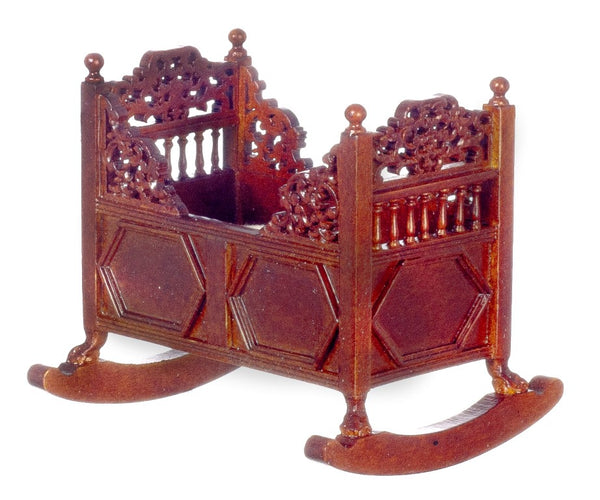 Dollhouse Miniature 15th Century Rocking Cradle, Walnut Finish #JJ05010WN - It's Totally Minis