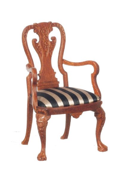 Dollhouse Miniature 1725-55 Queen Anne Armchair, Walnut Finish #JJ31080WN - It's Totally Minis