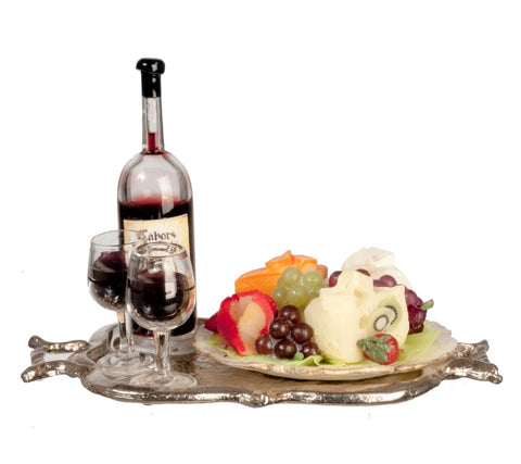 Dollhouse Miniature Fruit & Cheese Tray w/Wine #LR1007