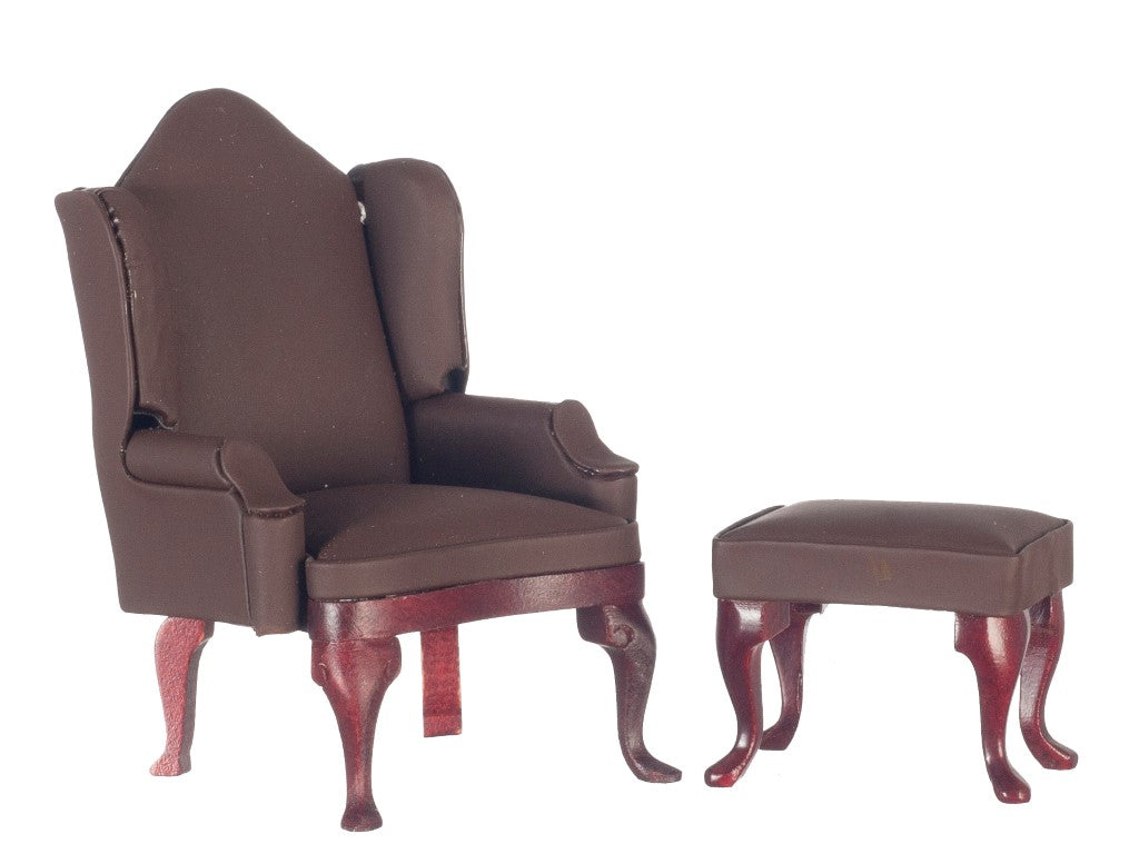 Dollhouse Miniature Wing Chair w/Ottoman, Flat Brown #M0859FBR