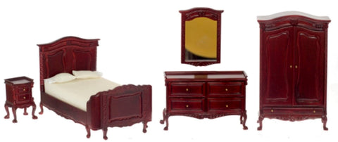 Dollhouse Miniature Chateau Lorraine Bedroom Set, 5 pc, Mahogany Finish #P3017