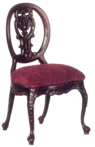 Dollhouse Miniature Le Petite Paulinese Side Chair, Mahogany Finish #P3306