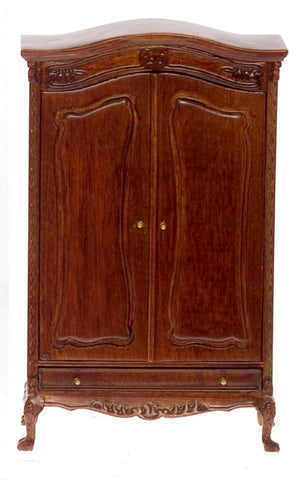Dollhouse Miniature Chateau Lorraine Wardrobe, Walnut Finish #P6009