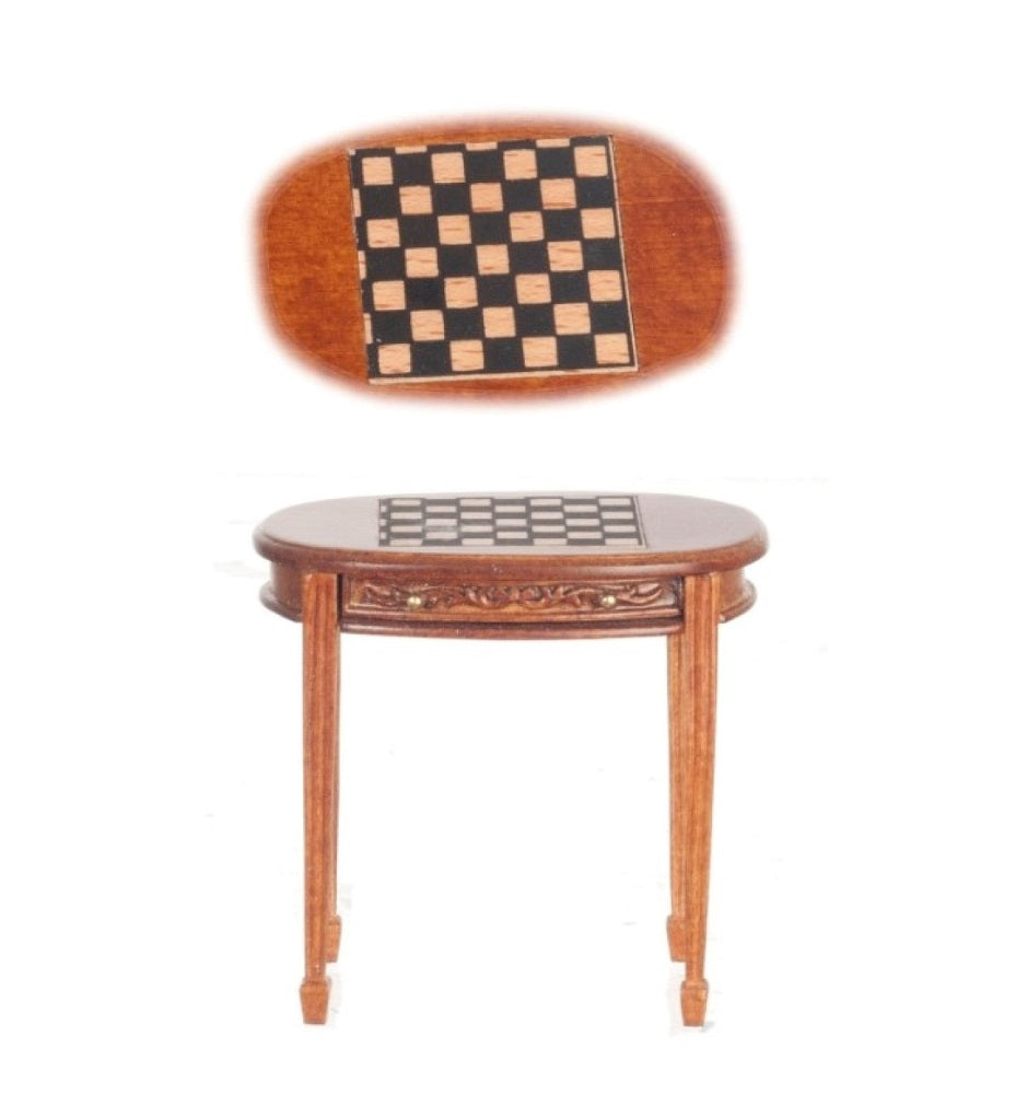 Dollhouse Miniature Chess/Checkers Table, Walnut Finish #P6497