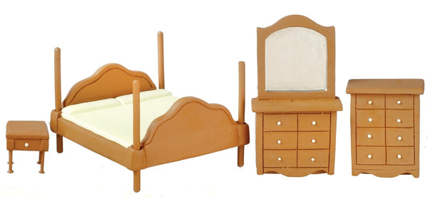 Dollhouse Miniature 1:24 Scale Bedroom Set, 4 pc, Walnut Finish #T0273 - It's Totally Minis