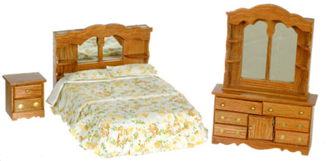 Dollhouse Miniature Bedroom Set, 3 Pc, Dark Oak Finish #T4465