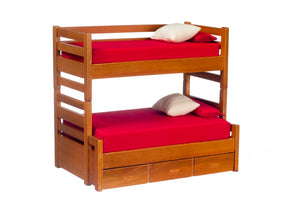 Dollhouse Miniature Bunkbed with Trundle, Walnut Finish #T6161*