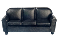 Dollhouse Miniature Living Room Set, 3 pc, Black Leatherette #T6515