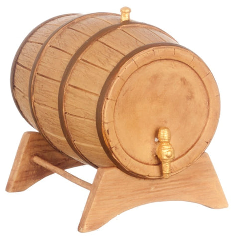 Dollhouse Miniature Large Wine Barrel and Stand #T8576