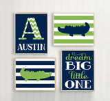 ALLIGATOR Wall Art, BABY BOY Nursery Wall Art, Custom Boy Bedroom Decor Stripes Dream Big Little One, Navy Green Set of 4 Canvas or Print - TRM Design