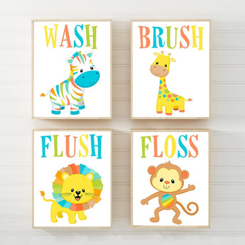 Animal Bathroom Wall Art, Jungle Bath Art, Kid Bathroom, Safari Animal Theme Decor, Wash Brush Flush Floss Rules Canvas or Prints Set of 4 - TRM Design