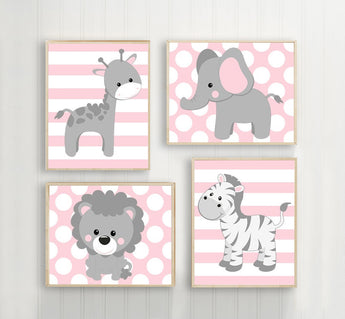 Baby Girl Nursery Wall Art, Pink Gray Nursery Decor, Elephant Giraffe Zebra Lion, Girl Safari Animals Decor, Canvas or Print Set of 4 - TRM Design