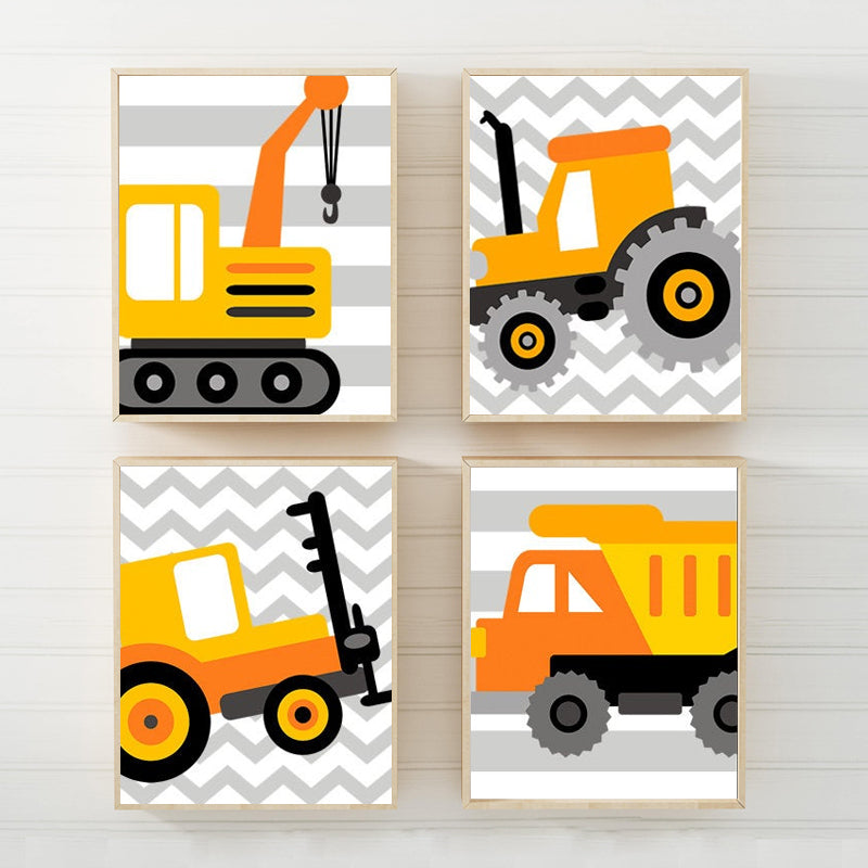 CONSTRUCTION Wall Art, Construction Decor Canvas or Prints Dump Truck Pictures, Big Boy Room Decor, Transportation Theme Set of 4 Pictures - TRM Design