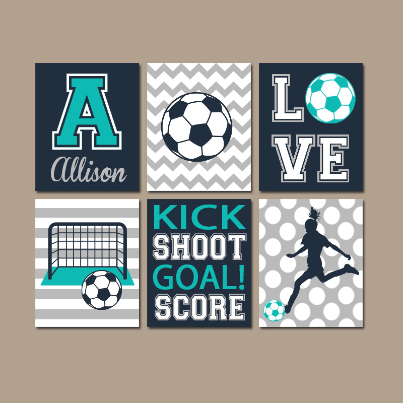 Soccer Wall Art, Soccer Decor, Canvas or Prints, Sports Theme Girl Bedroom Wall Decor, Girl Sports Room Decor, Set of 6 Soccer Artwork