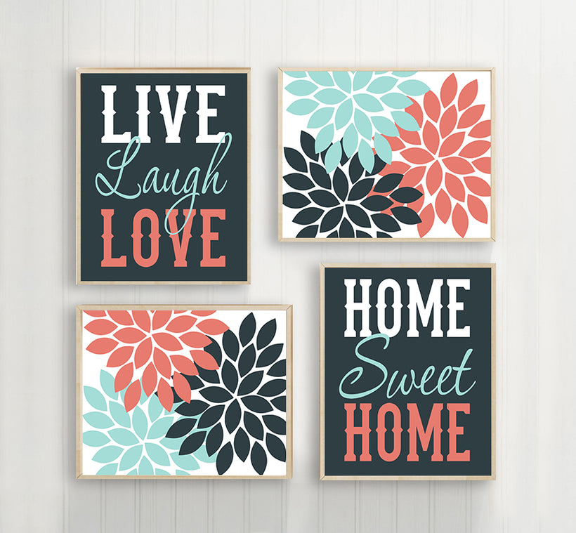 WALL ART CANVAS or Print Live Laugh Love Art, Home Sweet Home, Life Quote Decor, Flower Decor, Set of 4, Quote Home Decor Wall Decor