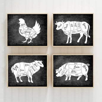 Farmhouse Wall Art, Kitchen Decor, Meat Cuts Print Butcher DIAGRAM Chart, Rustic Kitchen decor, Chalkboard Decor, Canvas or Print Set of 4