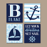 NAUTICAL Nursery Art, Boy Nautical Wall Art, CANVAS or Prints, Baby Nautical Nursery Decor, Set Sail Quote, Sailboat Anchor, Set of 4 Decor