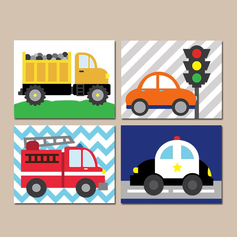TRANSPORTATION Wall Art, City Vehicles Theme, CARS Nursery Decor, Big Boy Room Decor, Cars Trucks Decor, CANVAS or Prints, Set of 4 Pictures