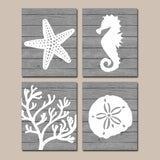 Beach BATHROOM Wall Art Canvas or Prints Nautical Nautical Bathroom Decor, Aqua Starfish Seahorse, Coral Reef, Wood Plank Design, Set of 4 - TRM Design