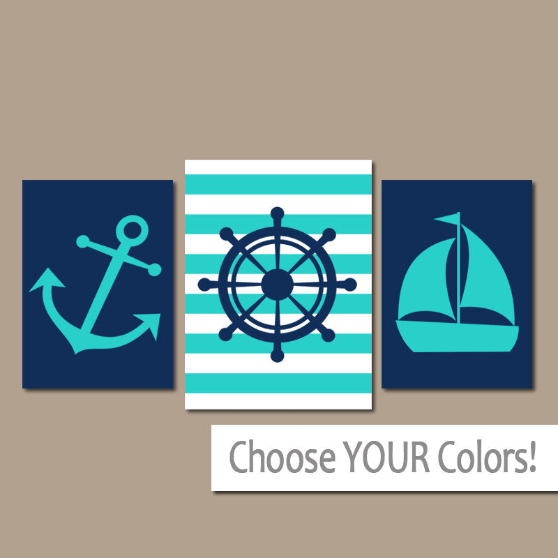 ANCHOR SAILBOAT Wall Art Canvas or Prints Ocean Bathroom Decor, Navy Turquoise, Captain Wheel, Nautical Nautical Decor, Set of 3 Home Art - TRM Design